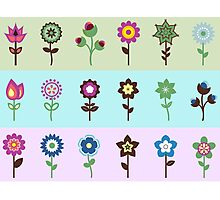 Cute Colorful Retro Flowers & Pastel Stripes Photographic Print