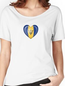 Barbados Heart Flag Women's Relaxed Fit T-Shirt
