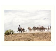 Bringing in the horses Art Print