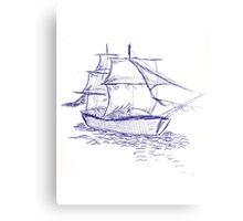 pirate ship blue drawing Canvas Print