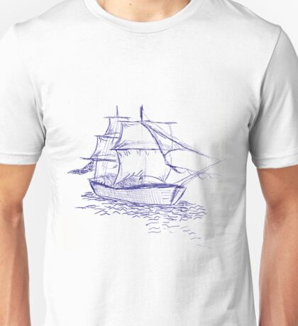 pirate ship blue drawing Unisex T-Shirt