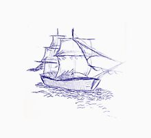 pirate ship blue drawing Unisex T-Shirt