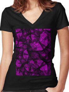 Fractal art black and pink Women's Fitted V-Neck T-Shirt
