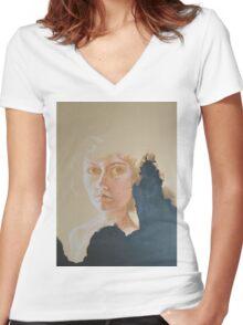 Burnt Paper  Women's Fitted V-Neck T-Shirt
