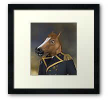 Aristocratic General Officer With Horse Head Mask Oil Painting Style Portrait Framed Print