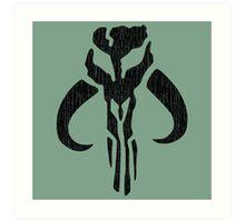 Mandalorian (black, distressed) Art Print