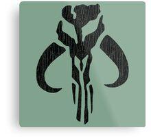 Mandalorian (black, distressed) Metal Print