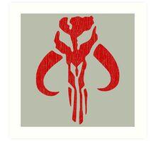 Mandalorian (red, distressed) Art Print
