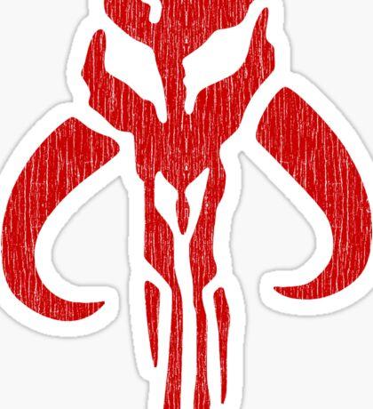 Mandalorian (red, distressed) Sticker