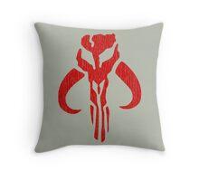 Mandalorian (red, distressed) Throw Pillow