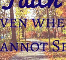 Faith Bible Verse- 2 Corinthians 5:7 (Fall Leaves)  Sticker