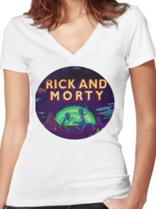 Rick and Morty Women's Fitted V-Neck T-Shirt