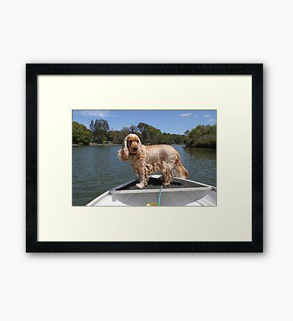 Fishing Dog Framed Print