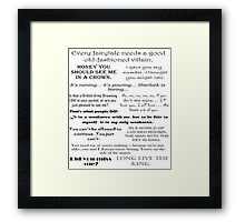 BBC Sherlock - Moriarty Quotes Framed Print