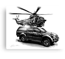 HM Coastguard Truck and Helicopter Canvas Print