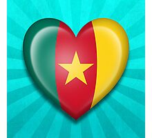 Cameroon Heart Flag Photographic Print
