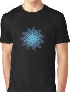 Fractal Flower - Blue Graphic T-Shirt