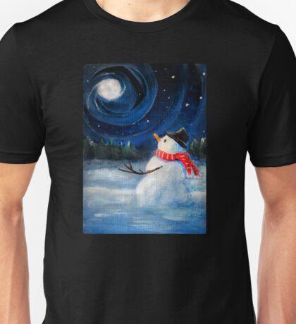 Snowman Gazes at Night Sky & Moon - Folk Painting .  Unisex T-Shirt