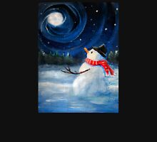 Snowman Gazes at Night Sky & Moon - Folk Painting .  Unisex T-Shirt