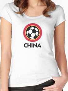 Football crest of China Women's Fitted Scoop T-Shirt
