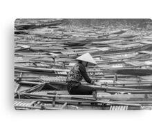 Vietnamese Boat Lady in Tam Coc Metal Print