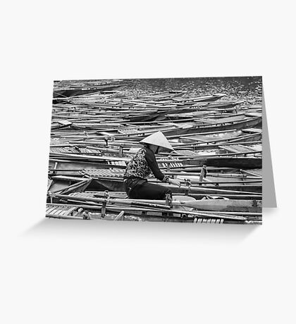 Vietnamese Boat Lady in Tam Coc Greeting Card