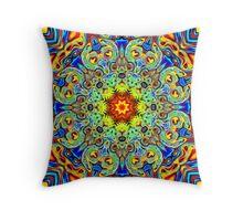 Psychedelic Melting Pot Mandala   Throw Pillow