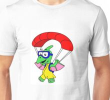 Illustration of a pterodactyl parachuting. Unisex T-Shirt