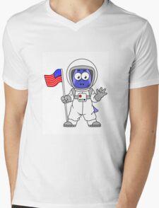 Illustration of a Parasaurolophus astronaut holding American Flag. Mens V-Neck T-Shirt