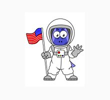 Illustration of a Parasaurolophus astronaut holding American Flag. Unisex T-Shirt