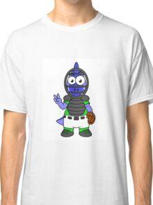 Illustration of a Parasaurolophus baseball catcher. Classic T-Shirt