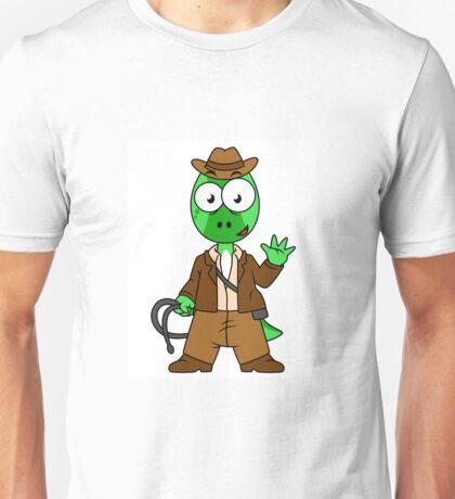 Illustration of Parasaurolophus dressed as Indiana Jones. Unisex T-Shirt