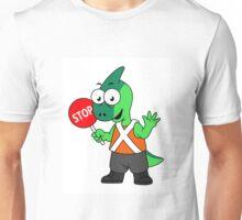 Illustration of a Parasaurolophus traffic enforcer. Unisex T-Shirt