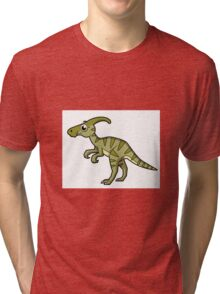 Cute illustration of a Parasaurolophus dinosaur. Tri-blend T-Shirt