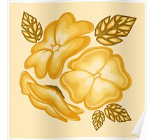 Golden Flowers Pattern Poster