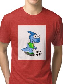 Cute illustration of a Parasaurolophus playing soccer. Tri-blend T-Shirt