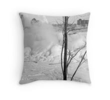 B&W-Falls behind the tree Throw Pillow