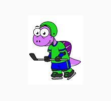 Illustration of a Spinosaurus hockey player. Unisex T-Shirt