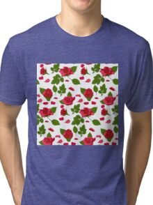 Simple roses with leafs pattern Tri-blend T-Shirt