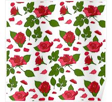 Simple roses with leafs pattern Poster