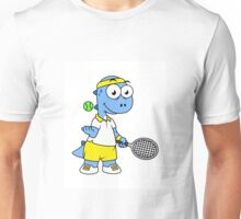 Illustration of a Tyrannosaurus Rex tennis player. Unisex T-Shirt