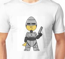 Illustration of a Tyrannosaurus Rex dressed as Robocop. Unisex T-Shirt