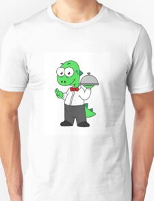Illustration of a Tyrannosaurus Rex food waiter. T-Shirt