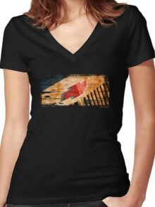 Chevy Rat Rod Badge Women's Fitted V-Neck T-Shirt