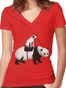 Funny Panda Express Women's Fitted V-Neck T-Shirt