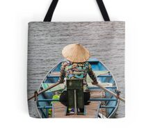 Vietnamese Lady Boat on Ngo Dong River Tam Coc Tote Bag
