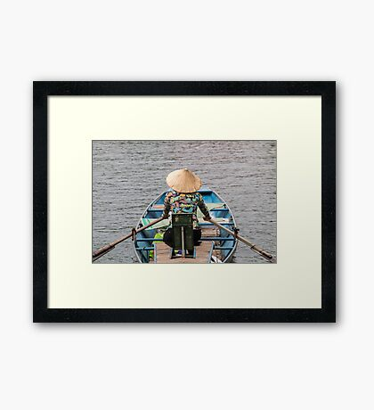 Vietnamese Lady Boat on Ngo Dong River Tam Coc Framed Print