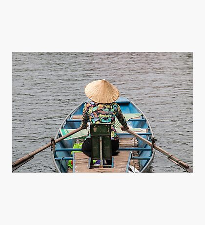 Vietnamese Lady Boat on Ngo Dong River Tam Coc Photographic Print