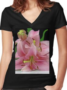 Two Lilies close up Women's Fitted V-Neck T-Shirt