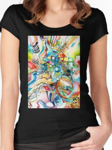 Unlimited Curiosity - Watercolor and Felt Pen Women's Fitted Scoop T-Shirt